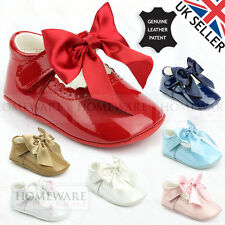 BABY GIRL SPANISH PRAM BOW SHOES PATENT LEATHER PINK SKY WHITE NAVY CAMEL IVORY