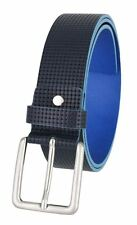 """Mens Italian Leather Casual Dress Belt 1-1/2"""" (38mm) Wide Made in Italy Blue"""