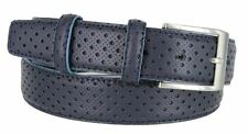 "Mens Italian Genuine Leather Casual Dress Belt 1-3/8"" Wide Made in Italy Blue"