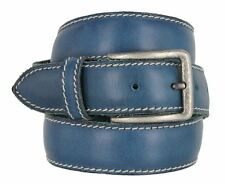 "Mens Italian Leather Casual Dress Belt 1-3/8"" (35mm) Wide Made in Italy Ocean"