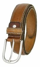 "Mens Italian Leather Casual Dress Belt 1-3/8"" (35mm) Wide Made in Italy Cognac"