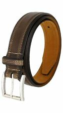 """Real Leather Smooth Brown Stitched Casual Belt 1-1/2"""" Wide Antique Silver Buckle"""
