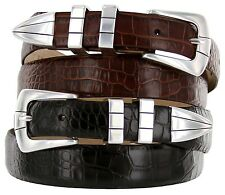 "Vince Italian Calfskin Leather Designer Dress Belt 1-1/8"" Tapers to 1"" Wide"