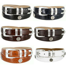 North Carolina Mens Genuine Leather Belt with Golf Concho in Various Colors