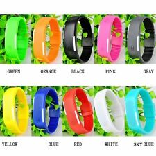 LED Watch Digital Sports Ultra Thin Wrist Band Men Women Kid