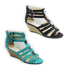 WOMENS LADIES WEDGE HEEL STRAPPY GLADIATOR STYLE ANKLE SANDALS SHOES SIZE 3-8
