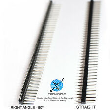 "5 x 40 Pin RIGHT ANGLE Pin Header Edge Pins Strip 0.1"" 2.54mm for Breadboard PCB"