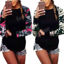 Women Long Sleeve Slim Shirt Casual Blouse Camouflage Tops Ladies Casual T Shirt