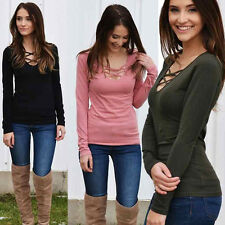Women Bandage Long Sleeve Blouse Solid Cotton Lace up T-Shirt Casual V-Neck Tops
