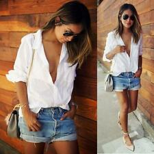 Women Sexy Loose Long Sleeve T Shirts Plus Size Pocket Blouse V Neck Tops