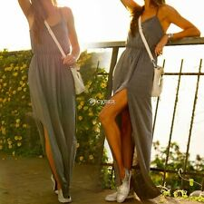 Fashion Women Sexy Halter Strap Backless Cross Bandage Long Dress Gray DZ8801