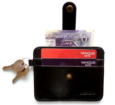 Slim Thin Credit card holder with keyring holder and money note section 4 Slots