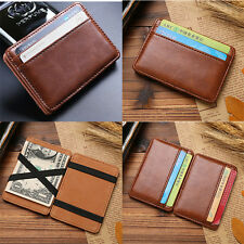 Mens Leather Magic Money Clip Slim Wallet ID Credit Card Holder Case Purse New
