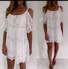LADIES UNUSUAL LAGENLOOK ITALIAN CROCHET LACE COLD SHOULDER TUNIC TOP