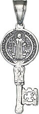 Sterling Silver Saint Benedict Key Medal Reversible Charm Pendant Necklace