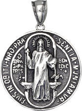Sterling Silver Saint Benedict Medal Reversible Charm Pendant Necklace 1.25 Inch
