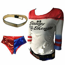 Suicide Squad Costume Cosplay Harley Quinn Full Set Halloween Costumes T-Shirts