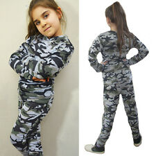 Girls Boys Kids Camouflage Tracksuit Tops + Longs Trousers Outfits Set Clothes T