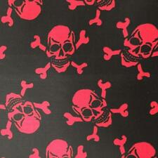 Printed BLACK Poly Cotton with RED SKULLS 115cm poly cotton sold by metre