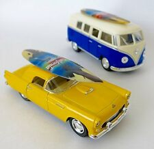 California Surf Board, classic thunderbird car with Surf Board, and VW bus, col