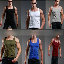 Mens Plain T-shirt Tank Top Muscle Sleeveless Tee Casual Cotton Vest Body Tops Q