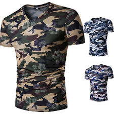 Men Chic T-Shirt Workout Camouflage Slim Floral Tee Gym Casual Print Fitness Q