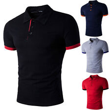 Mens V Neck Short Sleeve Shirts Slim Fit T-Shirt Casual Muscle Tee Top Fashion