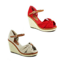 WOMENS LADIES PLATFORM WEDGE HEEL PEEP TOE ESPADRILLES SANDALS SHOES SIZE 3-8