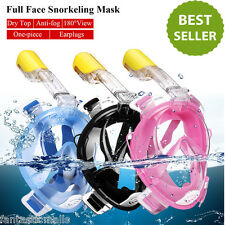 Full Face Snorkeling Mask Scuba Diving Swim Snorkel Breather Pipe for Gopro New