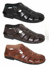 Mens Black Brown Tan Leather Look Walking Summer Holiday Beach Sandals Shoes