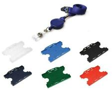 Blue Extendable Neck Lanyard with Badge Reel & Two Sided ID Badge Pass Holder