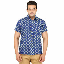 Bannasa's Men's Jaipuri Hand Block Print Blue Casual Cotton Shirt
