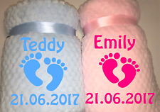 Personalised Embroidered Baby Footprint Bith Details Delux Blanket Newborn Gift