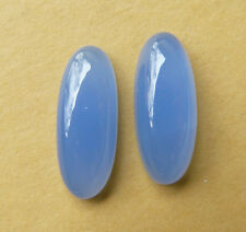 Blue Chalcedony Oval Cabochons set of 2 ideal for earring or rings 13 carats