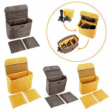 Yellow/Coffee Padded Foldable Camera Bag Insert Protective Case for SONY Canon
