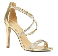ALDO ARENANI SIZE 8 41 GOLD DIAMANTE HIGH HEEL NARROW FIT ANKLE STRAP SANDALS BN