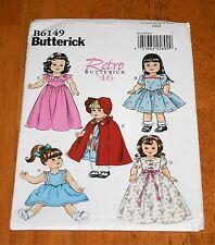 BUTTERICK  Pattern #6149 Retro '46 - 18 Inch Doll Outfits - New - 5 Designs
