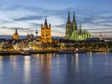 River Rhine, and Cathedral (Dom), Cologne (Koln), North Rhine Westphalia,