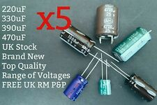 [x5] NEW Electrolytic Capacitor Radial 220uF 330uF 390uF 470uF Range of Voltages