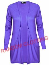 Womens Plain Open Front BoyFriend Drop Pocket Casual Cardigan Top Purple UK 8-14