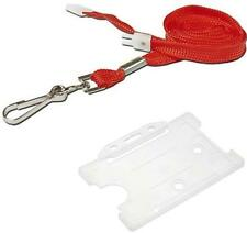 ID Neck Strap Lanyard Red With Metal Clip and FREE ID Card Badge Pass Holder