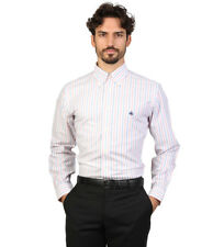 Brooks Brothers - Camisa slim fit color blanco con rayas rosas Hombre chico