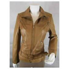 Ladies Tan Napa Leather Slim Tight Fitted Short Biker Rock Fashion Bike Jacket