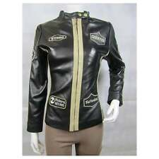 Ladies Black White Champion Leather Slim Tight Fitted Short Biker Bike Jacket