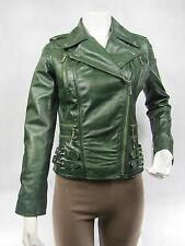 Ladies Green Napa Leather Slim Tight Fitted Zip Short Biker Jacket Bike