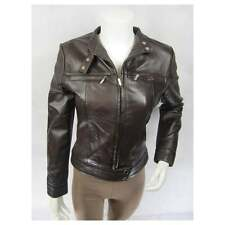 Ladies Brown Napa Leather Slim Tight Fitted Short Biker Fashions Jacket Bike
