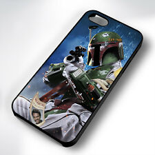 WANTED BOBA FETT BLACK PHONE CASE COVER FITS IPHONE 4 5 6 7 (#BH)