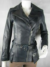 Ladies Blue Napa Leather Zip Slim Tight Fitted Biker Jacket Bike