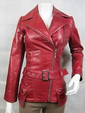 Ladies Maroon Glaze Leather Slim Tight Fitted Biker Jacket Bike