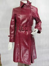 Ladies Burgundy Glaze Leather Slim Tight Fitted Long Biker Fashions Jacket Bike